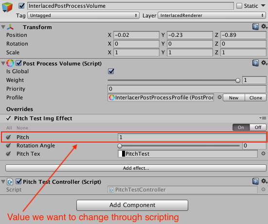 Changing parameters through scripting on Unity's post processing